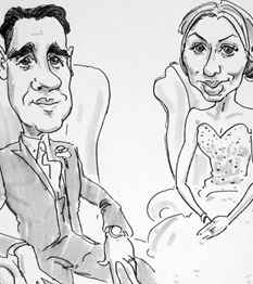 live caricature drawing of bride and groom at wedding in derbyshire