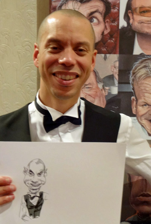 drawing by live caricaturist of guest at black tie ball