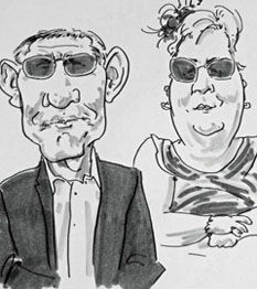 sample caricature drawing of guests at a wedding by live caricaturist