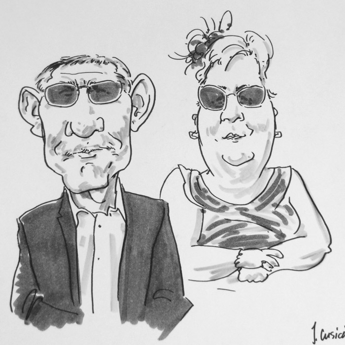 live caricaturist drawing of wedding guests, ashbourne, Peak district wedding in Derbyshire