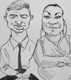 drawing of guests at a wedding by live cairucaturist in birmingham, UK