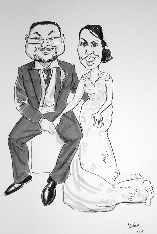 Wedding caricaturist drawing of bride and groom in Derbyshire/Staffordshire