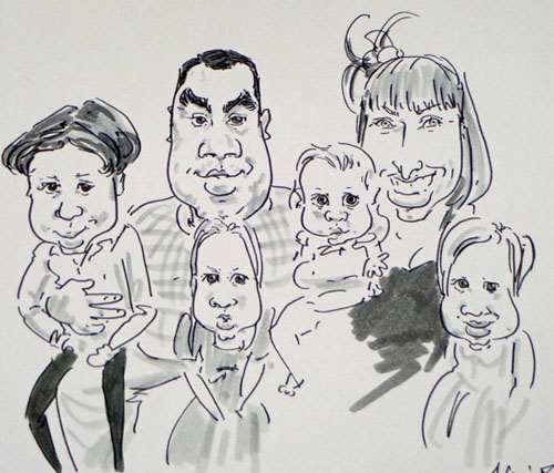 live caricature drawing of a family
