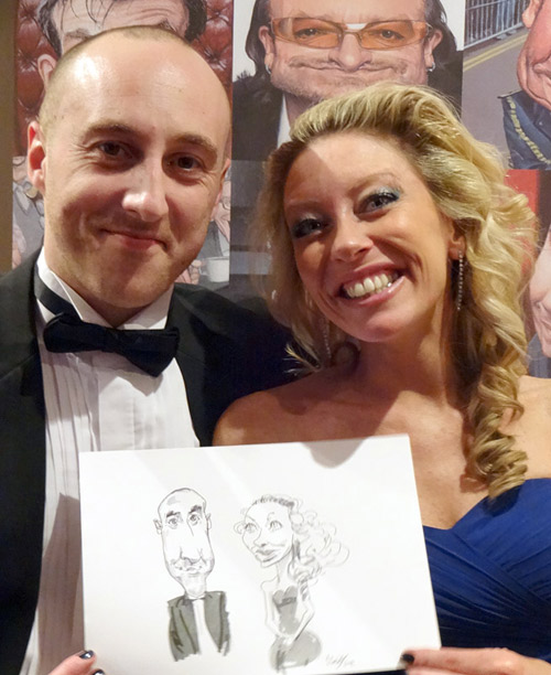 live caricature drawing from black tie event in Redditch, Worcestershire