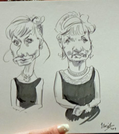 examples of live drawings by caricaturist at charity event