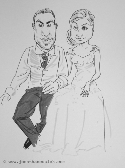 live caricature drawing in Hereford by caricature your wedding dot com