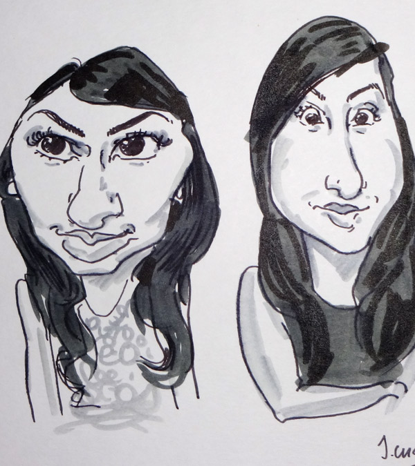 live caricature drawing of guests at a prty in Birmingham, West midlands live caricaturist