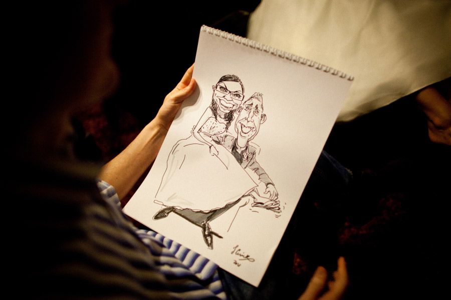 live caricaturist with drawing of bride and groom at shrewsbury shropshire wedding