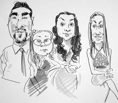 caricature drawing of wedding guests