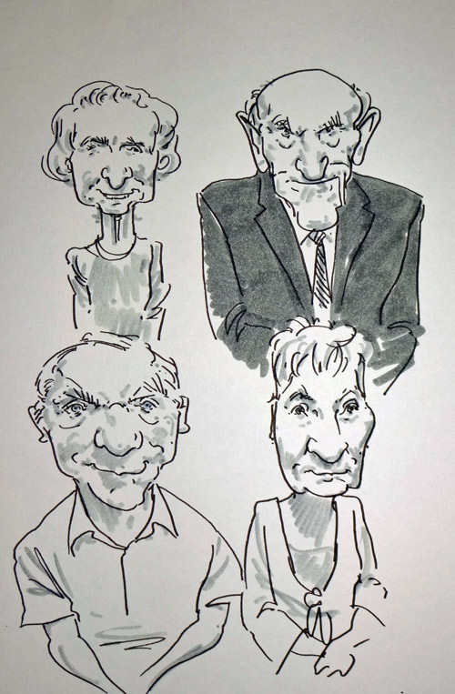 drawing by live caricaturist of guests at a shropshire wedding
