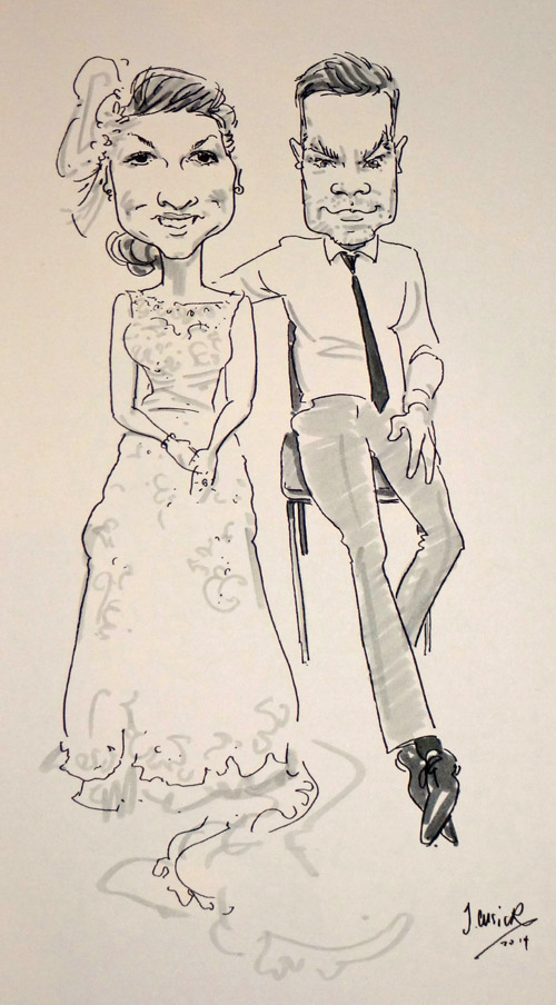live caricaturist drawing for a shropshire wedding