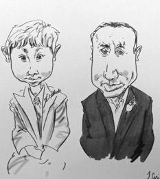 caricaturist drawing of wedding guests in worcester